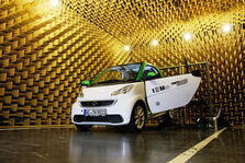 Electric car in an anechoic measuring room